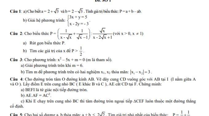 Bộ 40 đề thi tuyển sinh vào lớp 10 THPT và THPT chuyên môn Toán – có đáp án